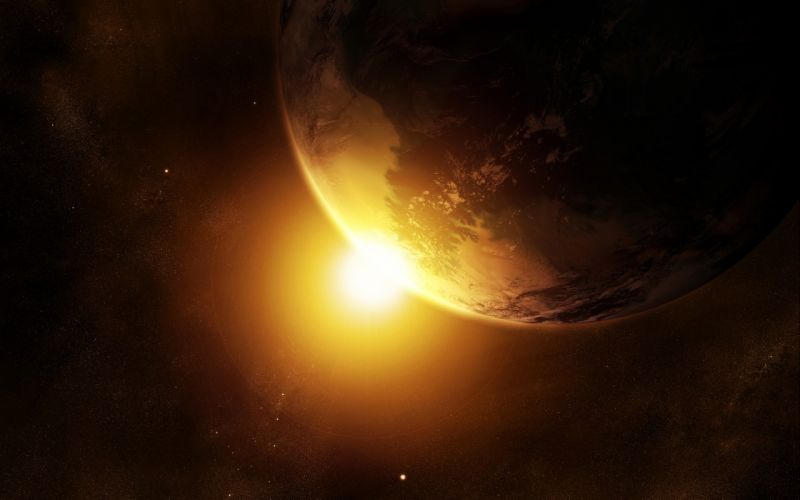 Sun outer space world planets earth artwork wallpaper