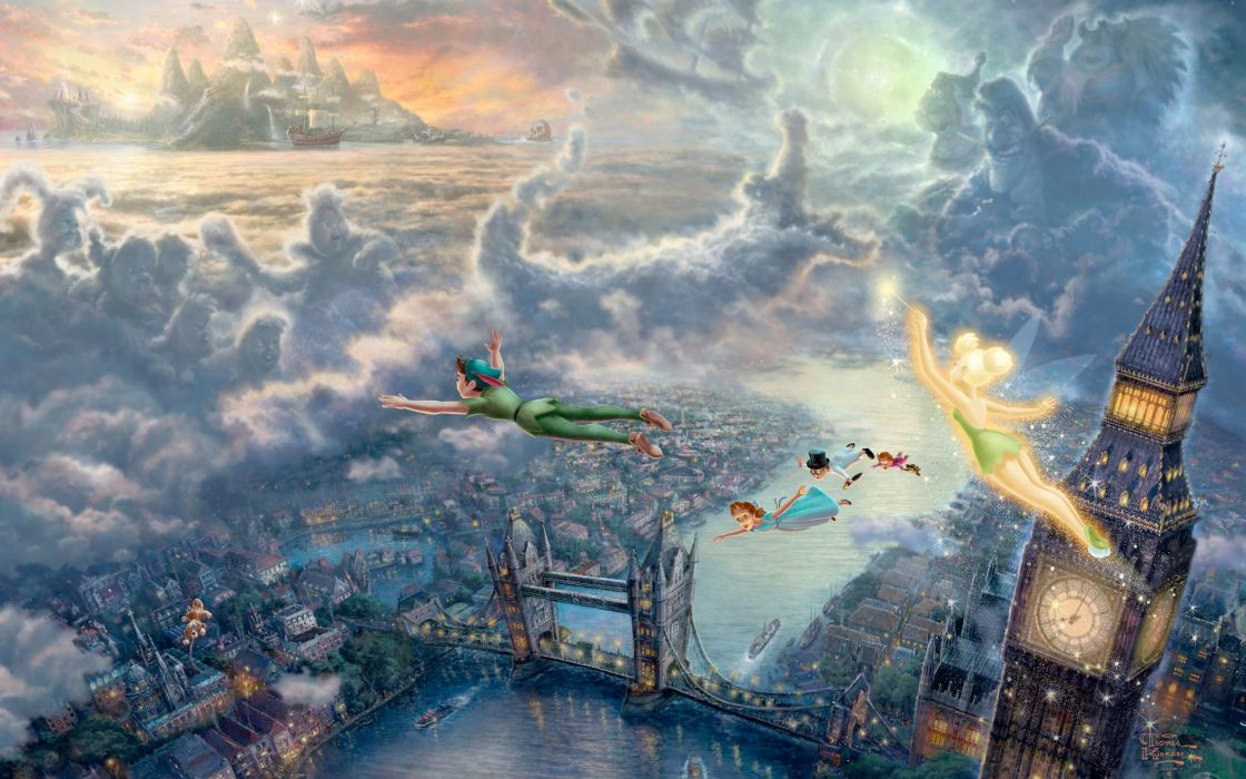 Clouds disney company movies flying architecture children pirates london big ben tinkerbell tower bridge peter pan thomas kinkade fairy tales captain hook neverland wallpaper