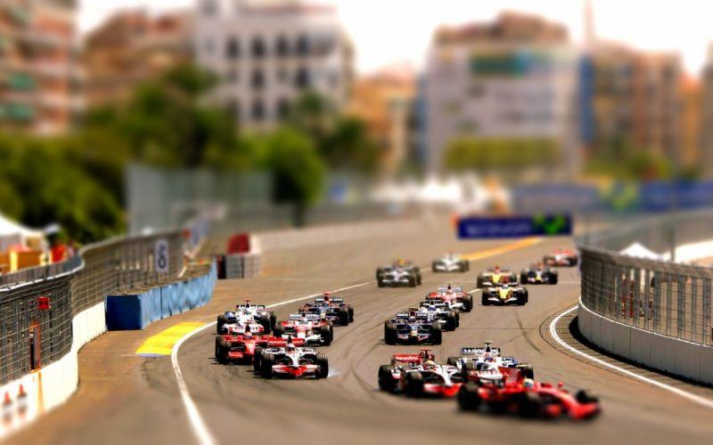 Cars formula one tiltshift wallpaper