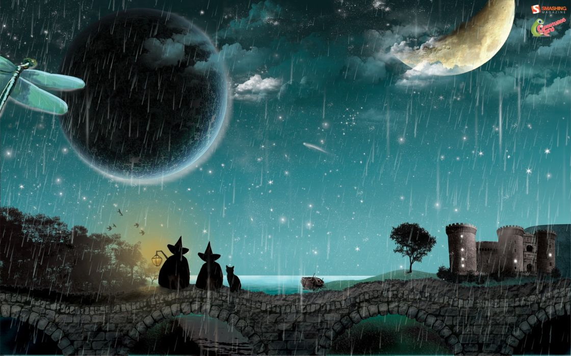 Castles rain moon wallpaper