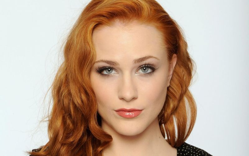 Women closeup redheads evan rachel wood faces white background wallpaper