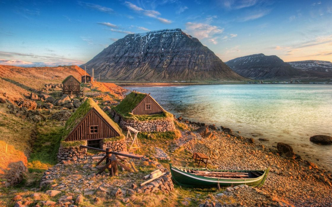Mountains landscapes houses valley lakes wallpaper