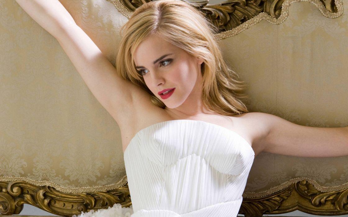Blondes women emma watson white dress wallpaper