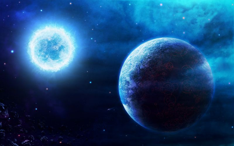 Blue outer space planets wallpaper
