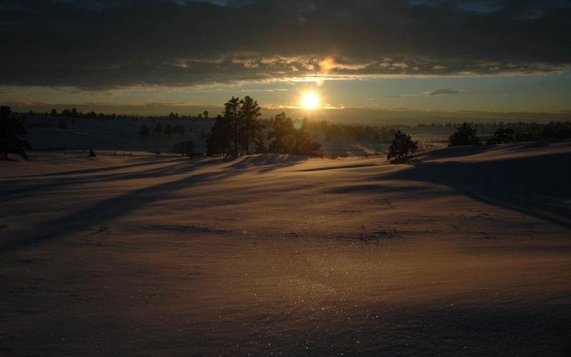 Sunset landscapes nature winter snow wallpaper
