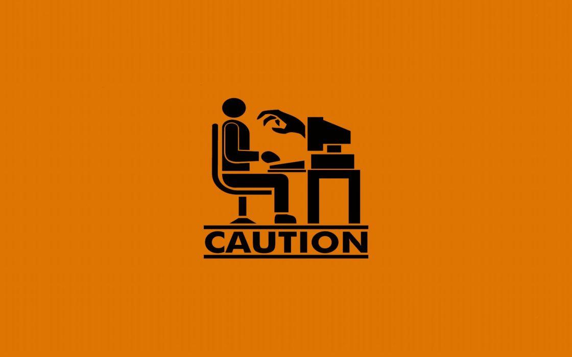 Monsters humor caution wallpaper