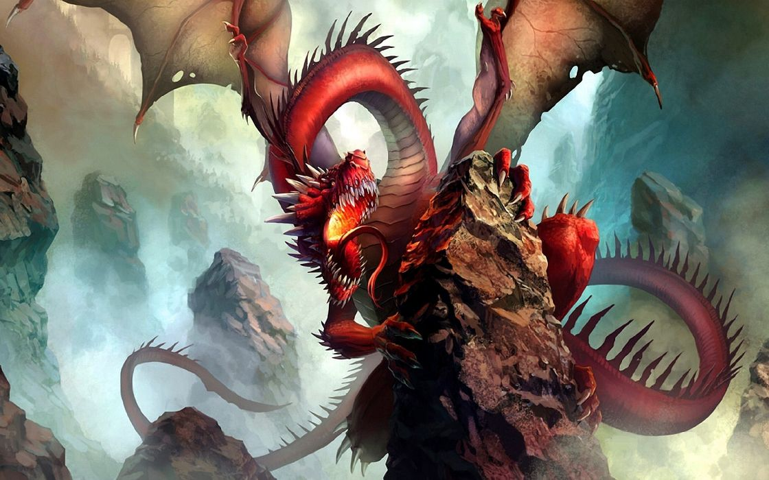 Wings dragons fantasy art artwork wallpaper