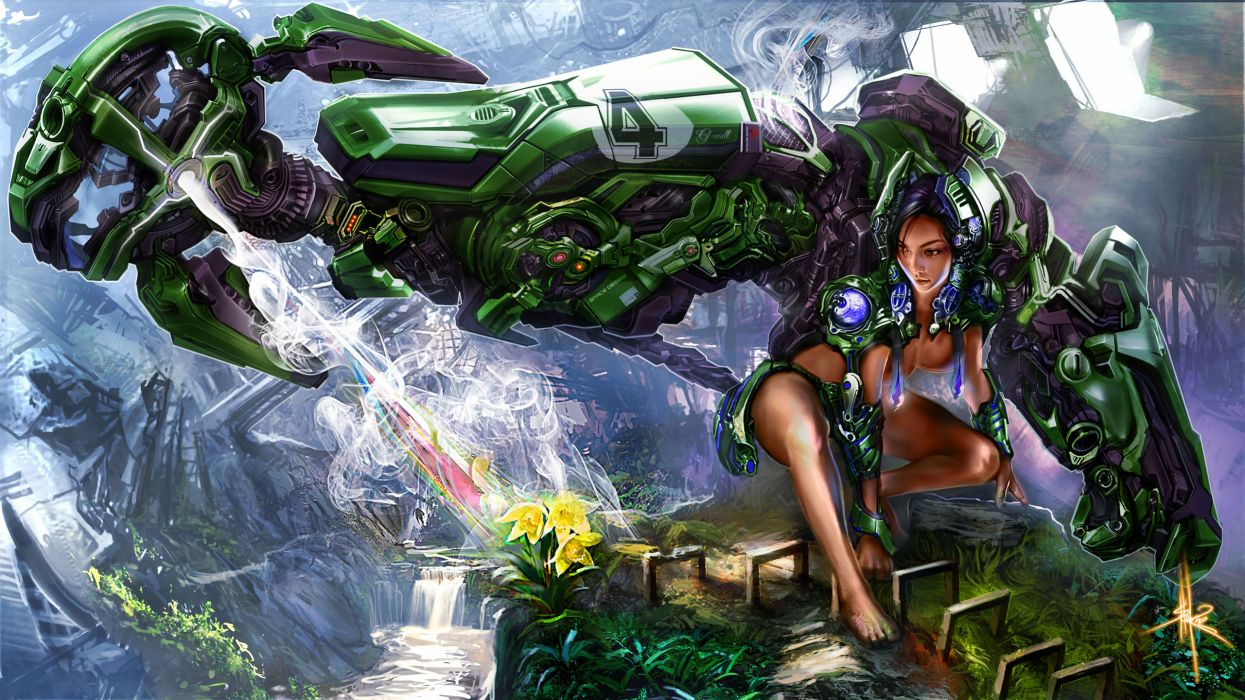 Women futuristic artwork wallpaper