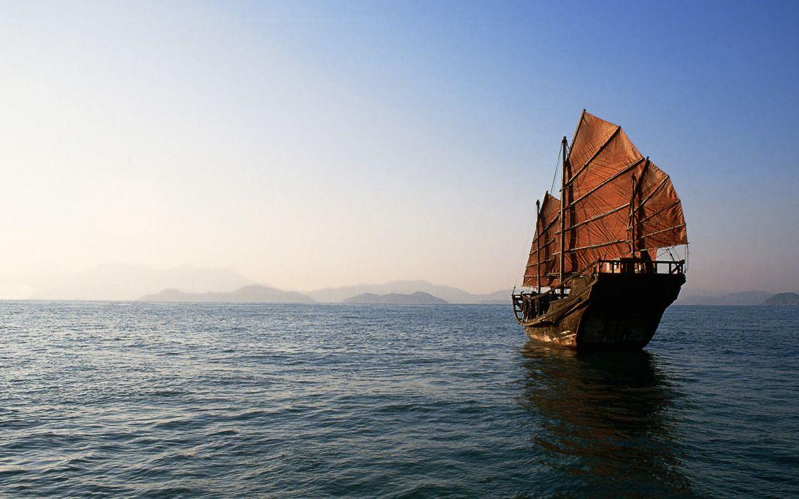 Ocean china ships wallpaper