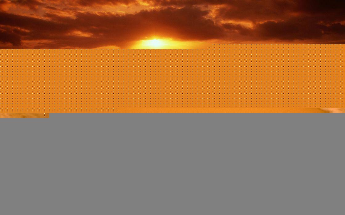Sunset beach sea waves wallpaper