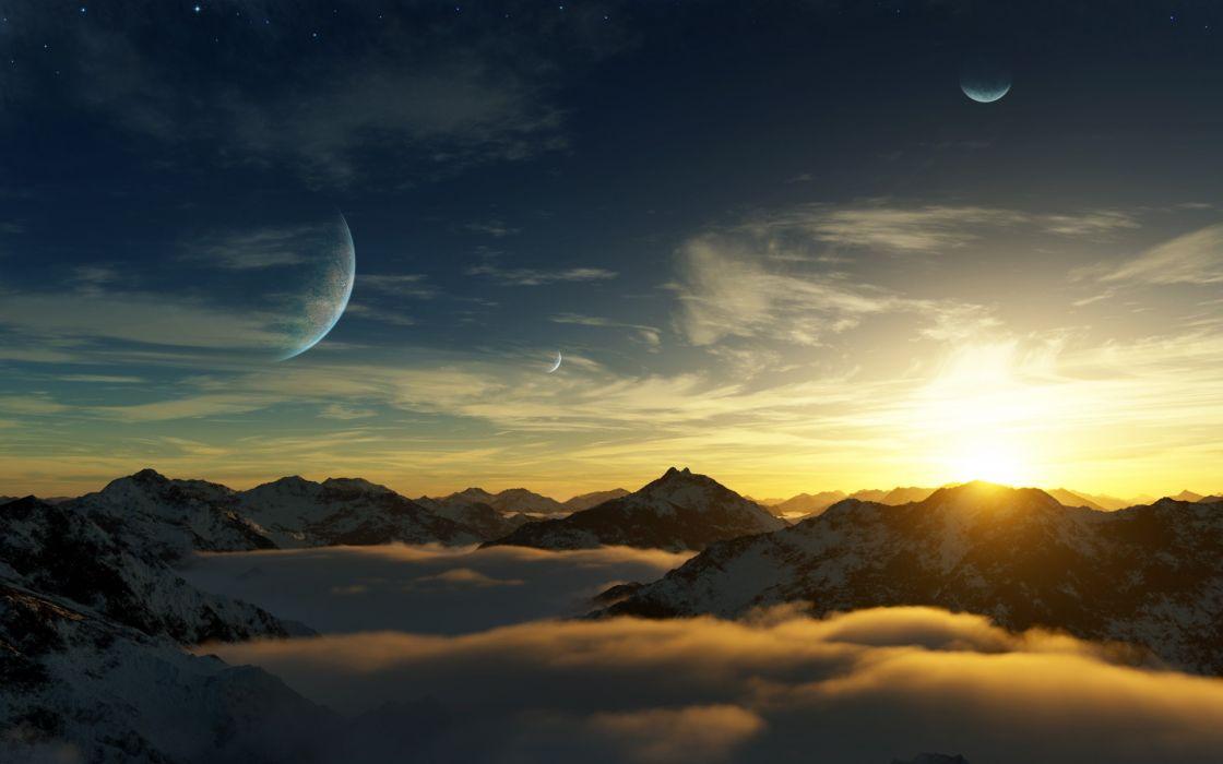 Mountains clouds landscapes nature dawn planets digital art wallpaper