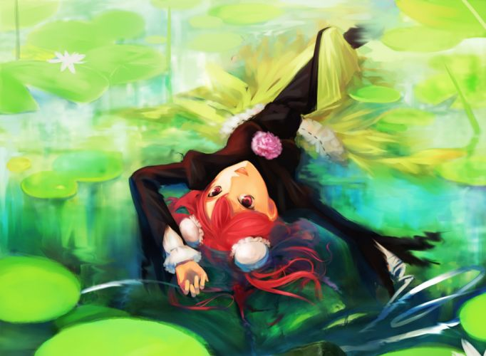 Green water video games nature touhou dress flowers redheads pond plants red eyes short hair lying down open mouth lily pads upside down hair bun ibara kasen hair ornaments wallpaper