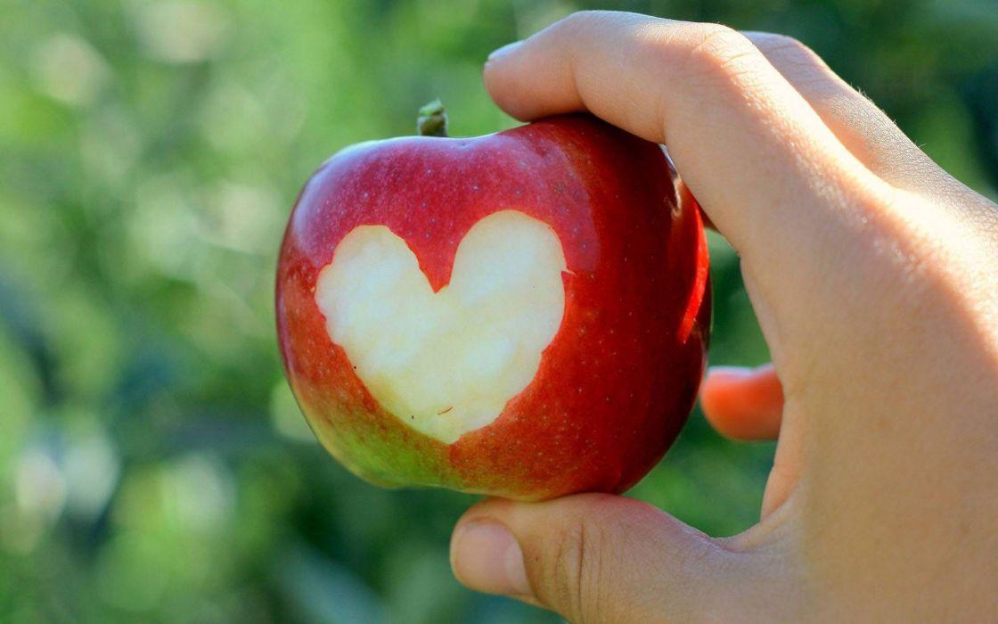 Hands hearts apples wallpaper