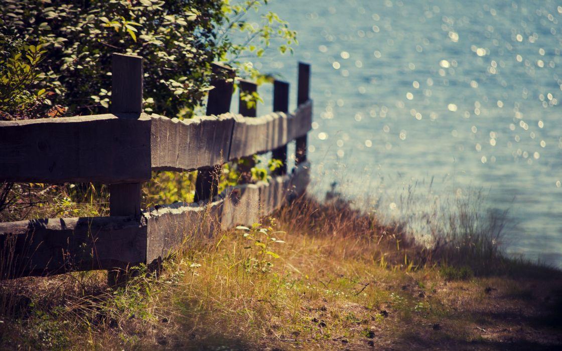 Landscapes nature fences depth of field wallpaper