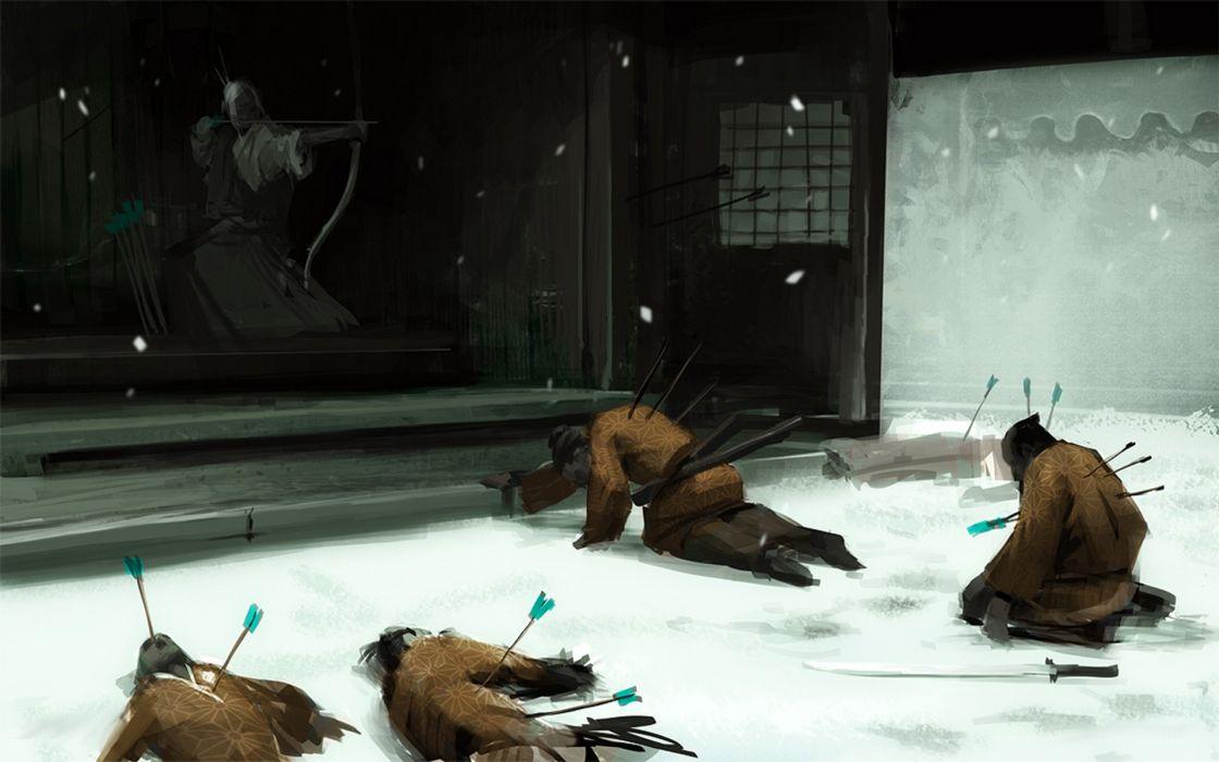 Fantasy art artwork shogun  archery wallpaper
