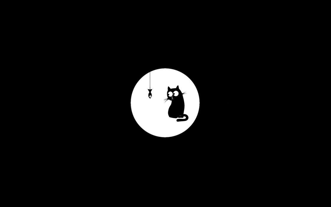 Minimalistic monochrome black background cats (drawn) wallpaper