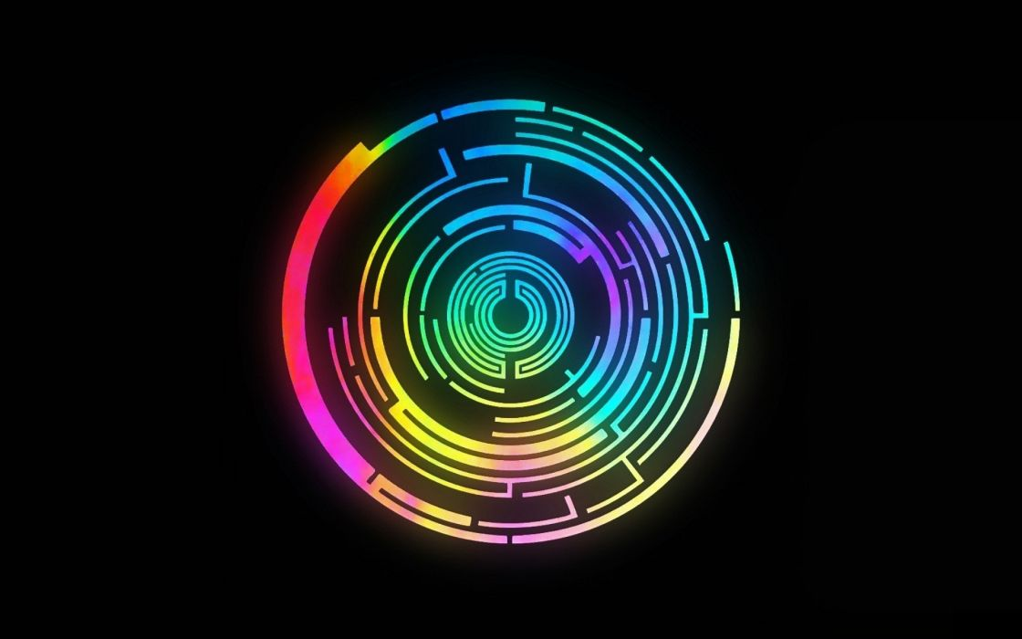 Music multicolor groups circles labyrinth rainbows pendulum black background colors wallpaper