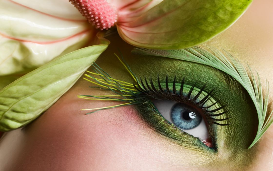 Eyes flowers wallpaper