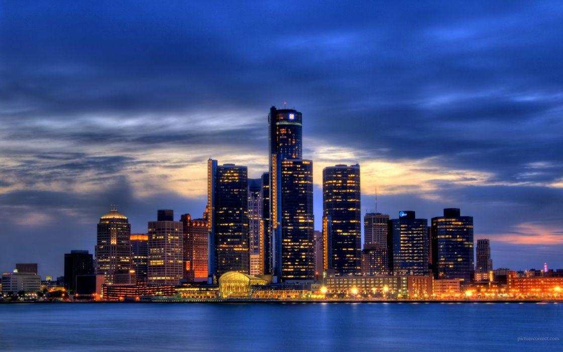 Cityscapes skyline architecture buildings detroit wallpaper