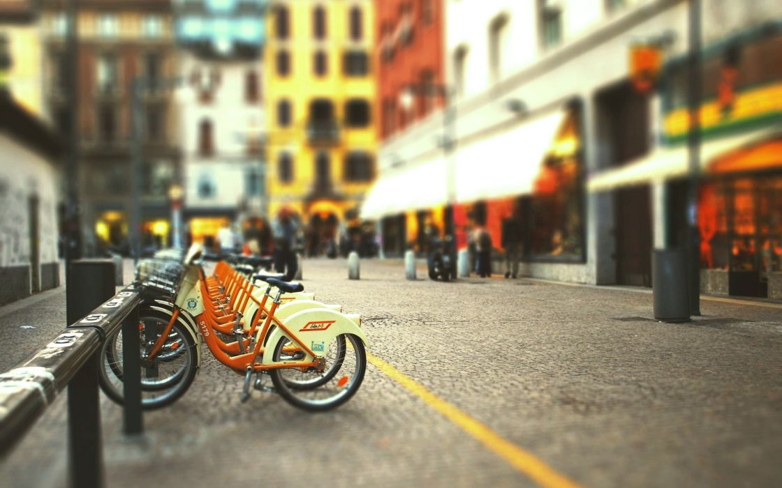 Cityscapes streets bicycles blur tiltshift groceries wallpaper