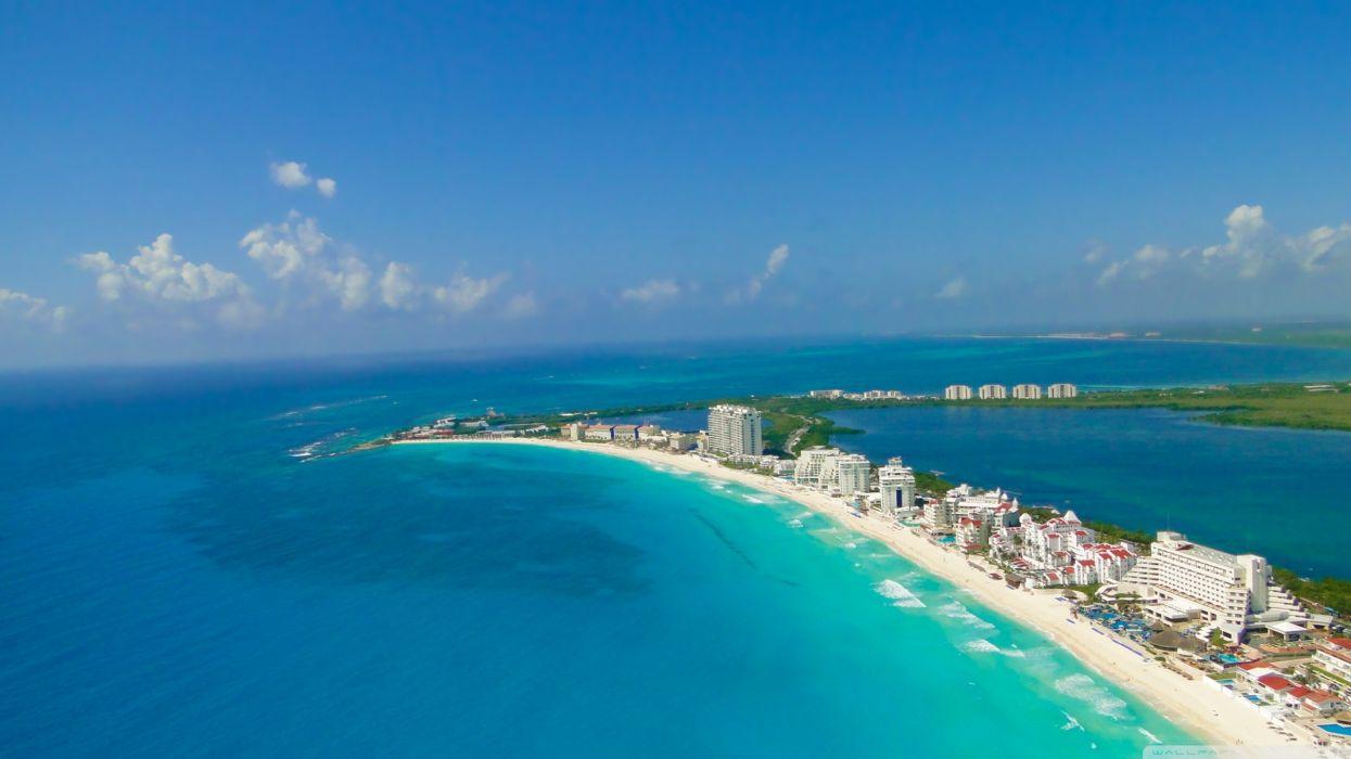 Blue nature cityscapes buildings seascapes cancun wallpaper