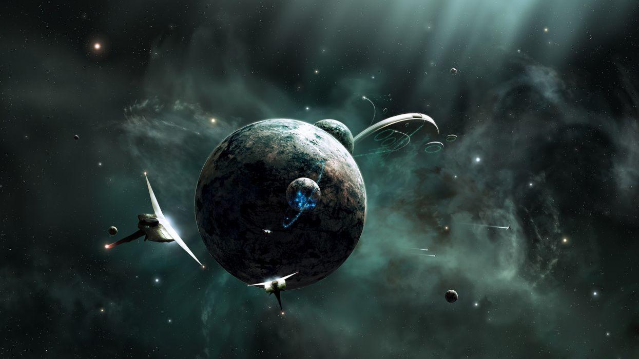 Outer space futuristic digital artwork wallpaper