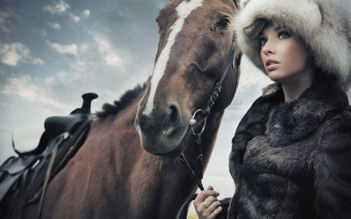 Brunettes women models polish horses girls with horses wallpaper