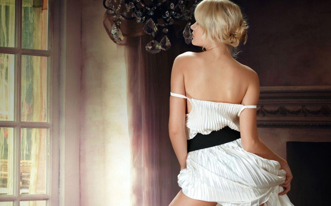 Blondes legs women talia cherry blossom thalia wallpaper