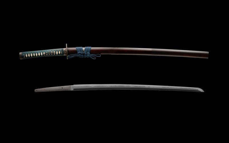 Katana weapons blade swords black background wallpaper