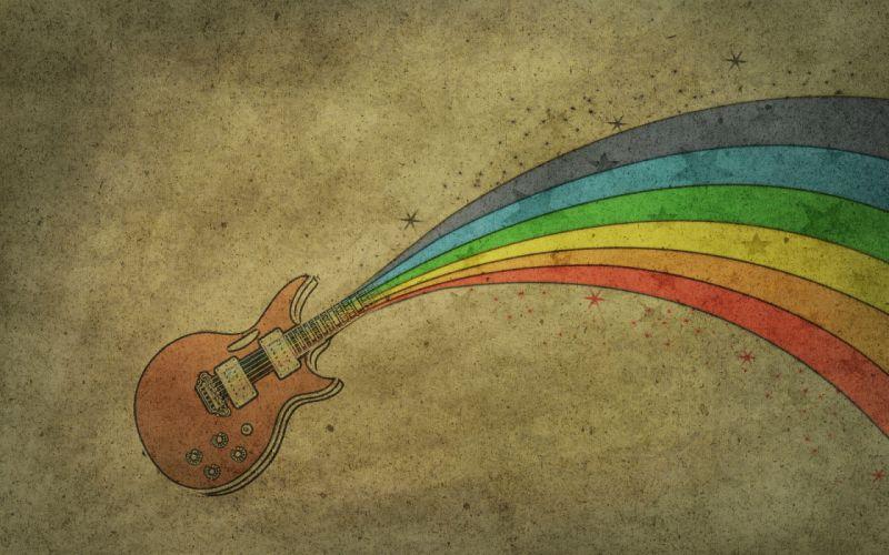 Rainbows guitars drawings wallpaper