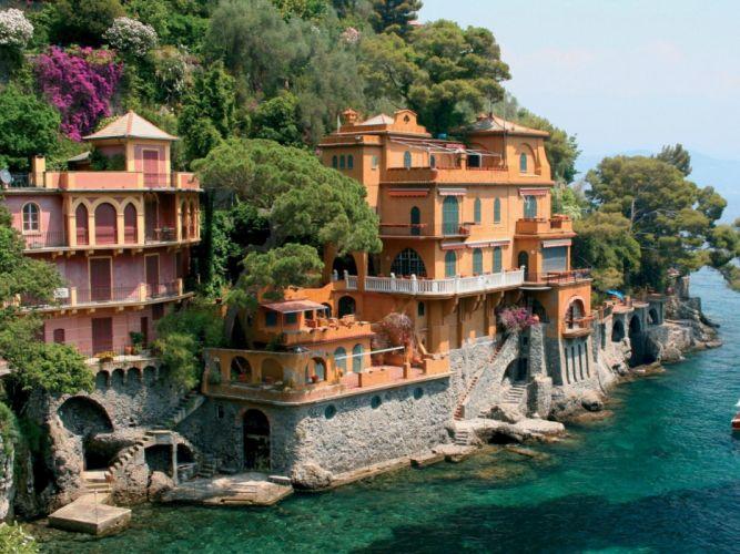 Coast italy villas genoa wallpaper