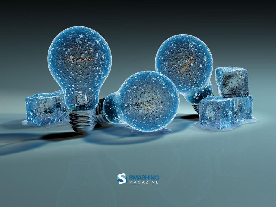 Ice creative light bulbs d wallpaper