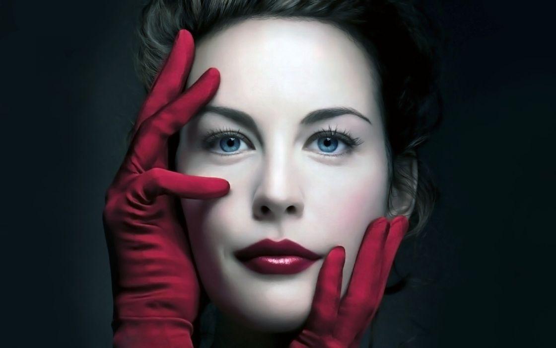 Women gloves blue eyes liv tyler glamour faces red lips wallpaper