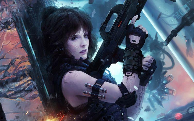 Women guns concept art science fiction marek okon wallpaper