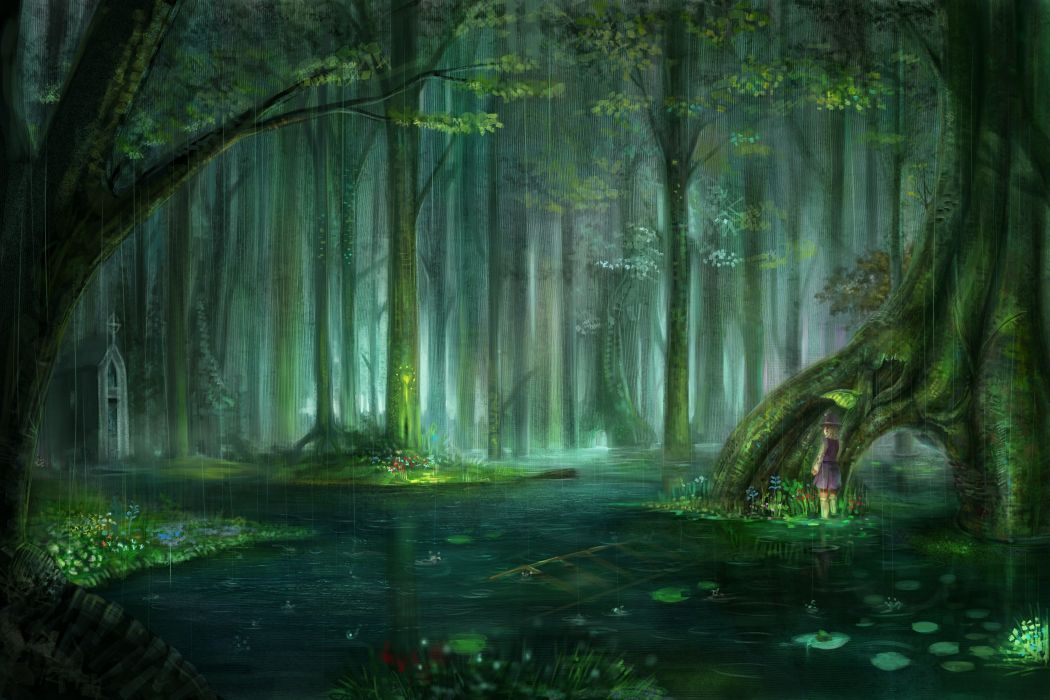 Blondes water landscapes nature touhou trees rain flowers forest leaves pond plants short hair scenic moriya suwako chapel anime raindrops lakes water lilies temple ladder hats anime girls wallpaper