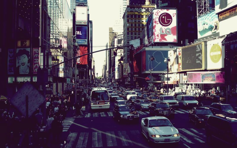 Cityscapes cars people new york city wallpaper