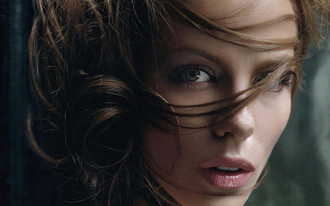Brunettes women closeup kate beckinsale long hair faces wallpaper