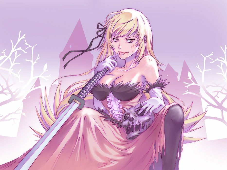 Blondes long hair bakemonogatari vampires oshino shinobu anime anime girls swords nisemonogatari wallpaper