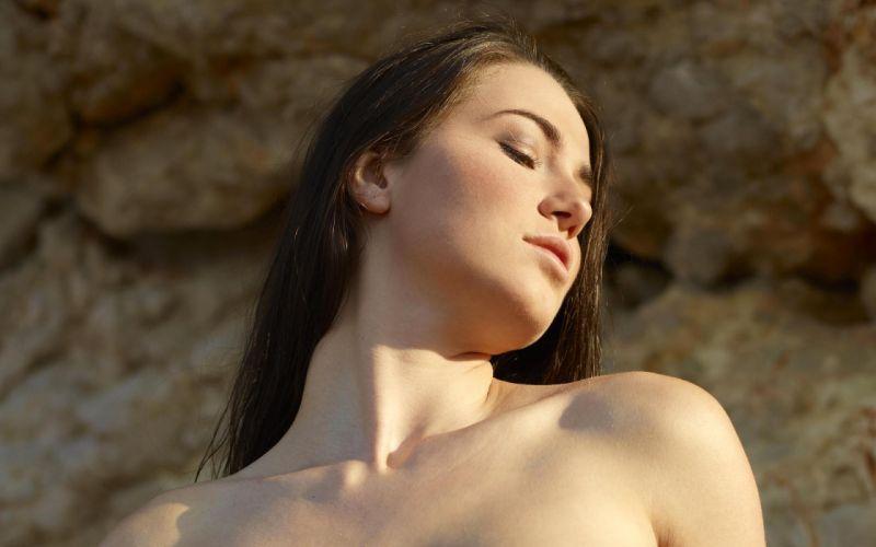 Brunettes women models rocks hegreart magazine nude closed eyes natural lighting yara a wallpaper