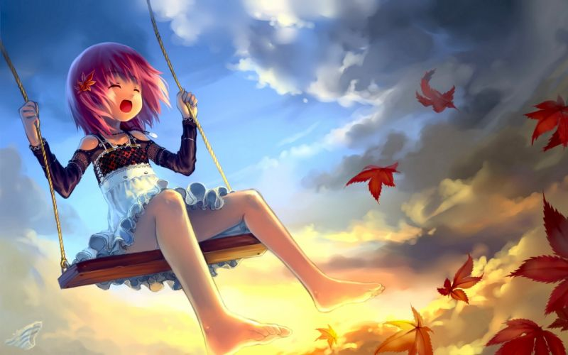 Clouds leaves lolicon wallpaper