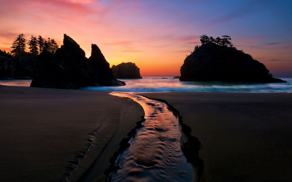 Landscapes beach silhouette rocks wallpaper