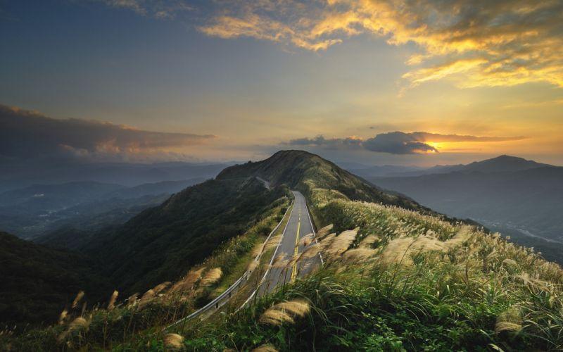 Mountains landscapes nature roads wallpaper