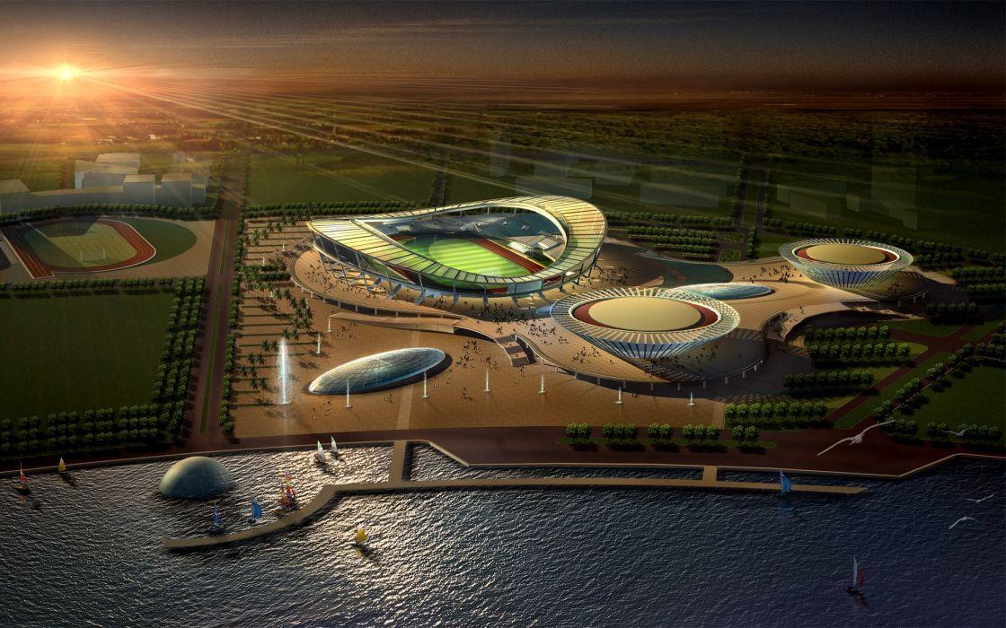 D view landscapes architecture sports buildings town stadium cities wallpaper