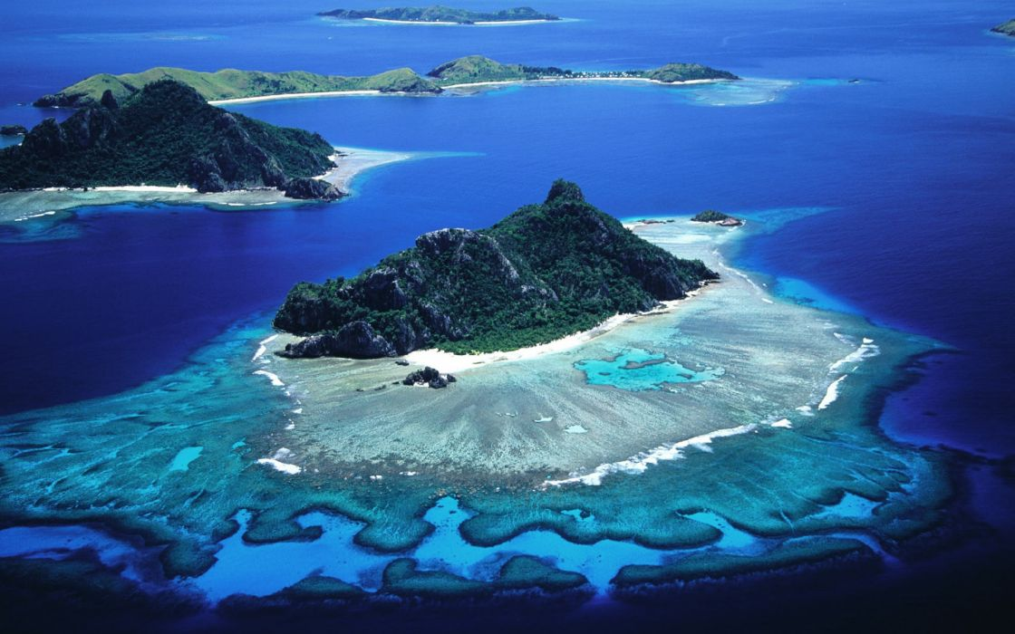 Mountains sand sea islands coral reef wallpaper