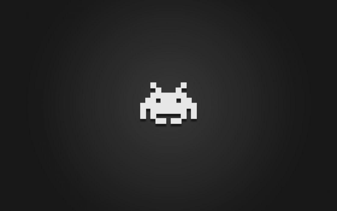 Video games minimalistic space invaders retro games wallpaper