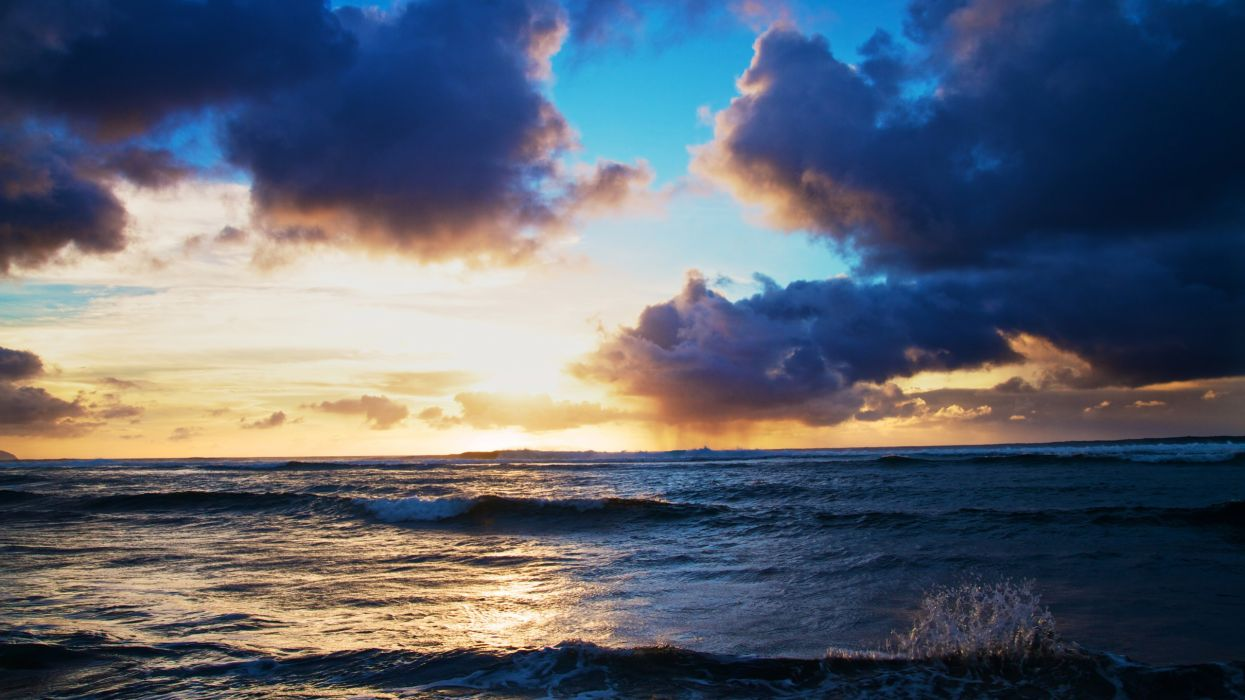 Water sunset clouds landscapes waves wallpaper