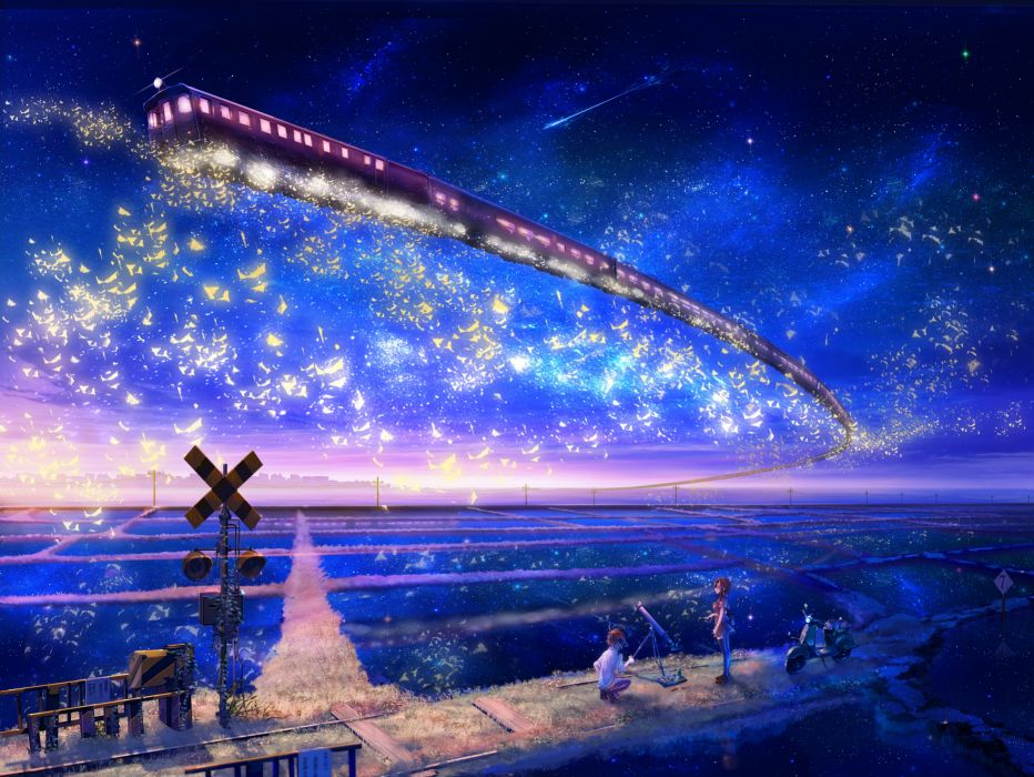 Stars trains telescope scooters scenic anime anime boys skyscapes anime girls railway wallpaper
