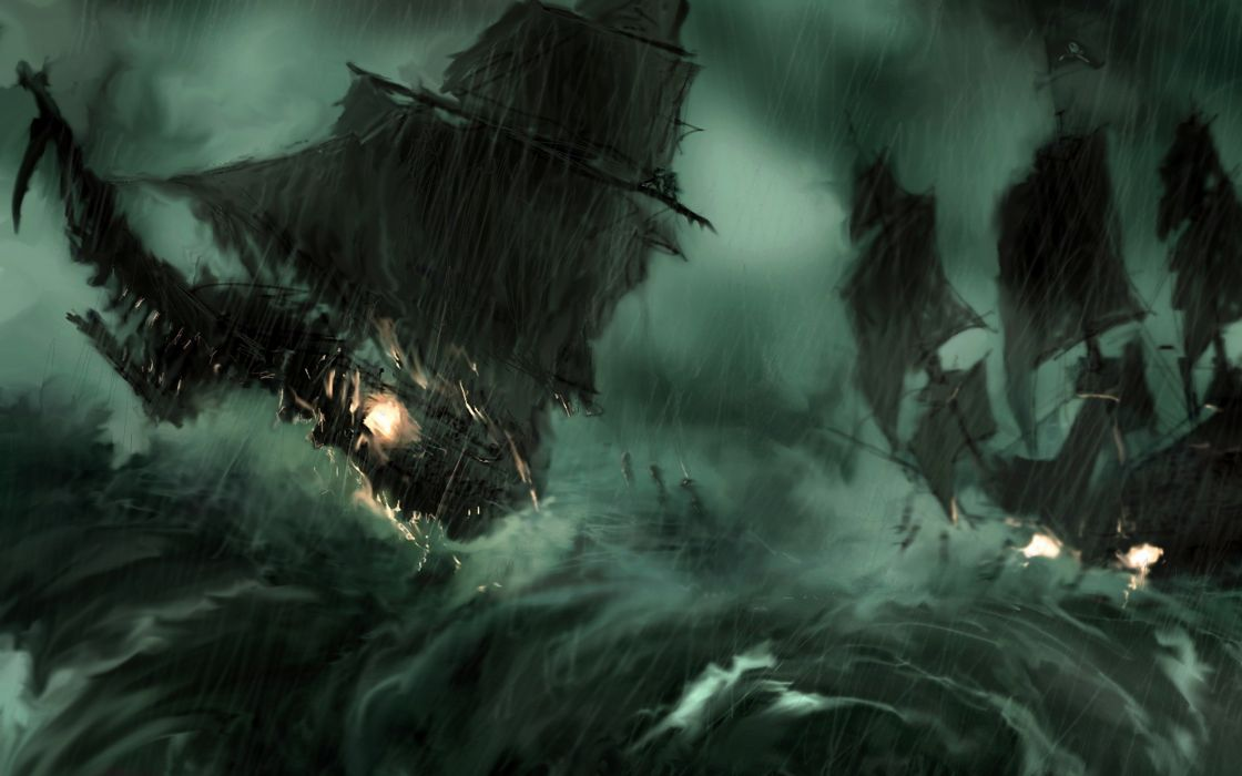 Paintings rain pirate ship storm pirates of the caribbean artwork sail ship wallpaper