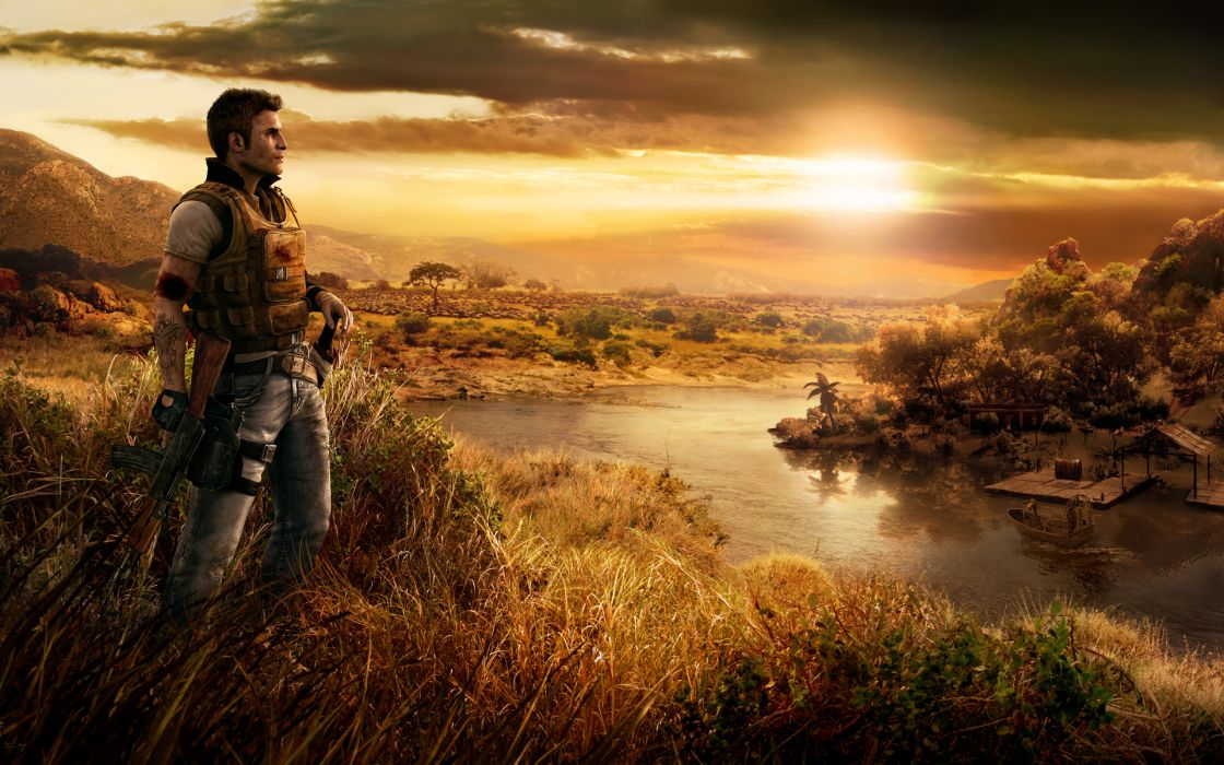Sunset clouds landscapes far cry wallpaper