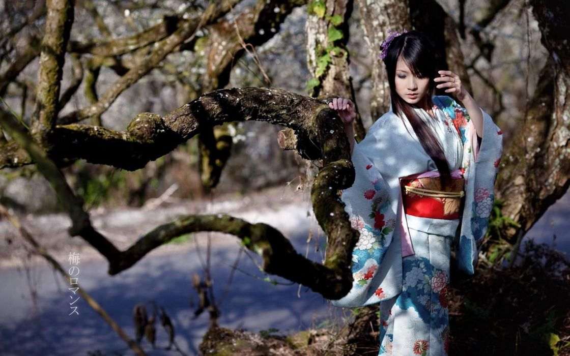 Women trees japanese asians yukata branches culture wallpaper